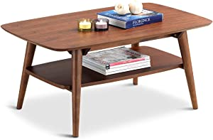 Giantex 2-Tier Coffee Accent Table Rectangular Sofa Side End w/Storage Shelf Living Room Coffee Tables (Walnut)