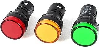 sourcing map Luci segnale AC 220V indicatore LED rosso 5pz. ad incasso per montaggio a pannello da 7//8 22mm