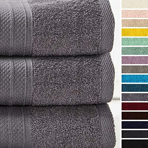 Lumaland Premium 3er Set Badetücher Handtücher Frottee 70 x 140 c aus 100% Baumwolle 500 g/m² mit Aufhänger grau