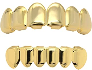 16K Gold Plated Hip Hop Caps Custom Fit Top & Bottom Grillz Set Teeth Grills Mouth