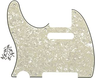 FLEOR Left Handed Pickguard Guitar Pick Guard Plate with Screws Fit USA/Mexican Standard Left Handed Telecaster Pickguard Replacement,4Ply Aged Pearl