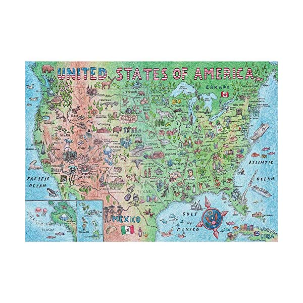 Difficult USA Map Puzzle 1000 Piece for Adults, United States of America, Patriotic...