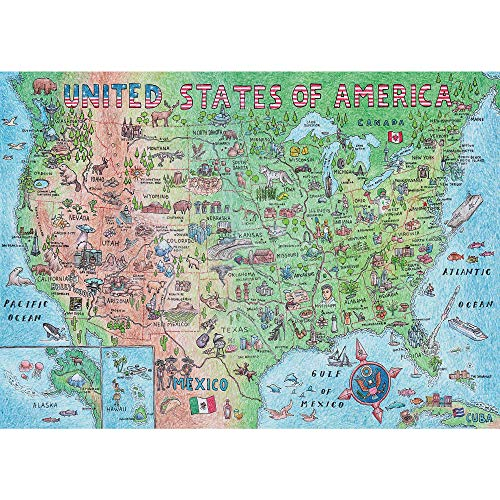 Difficult USA Map Puzzle 1000 Piece for Adults, United States of America, Patriotic Jigsaw Puzzle & Bonus Fact Poster by A2PLAY, Premium Materials, 27.5 x 19.7 in