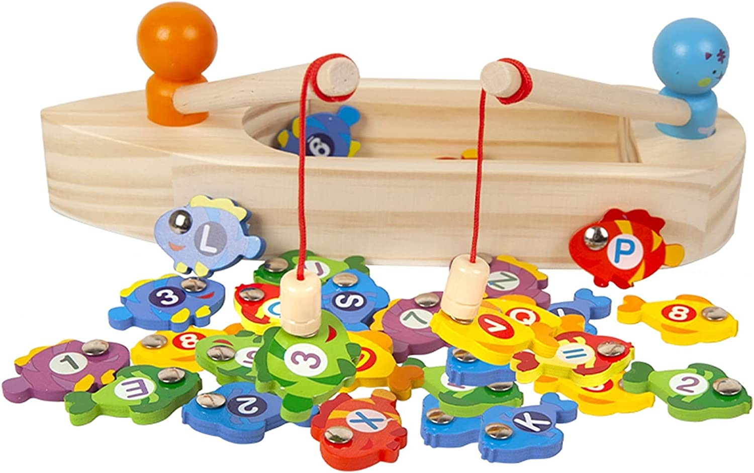 HTDZDX Japan's largest assortment Children's Wooden Toy Boat Fishing Charlotte Mall Game Preschoo Magnetic