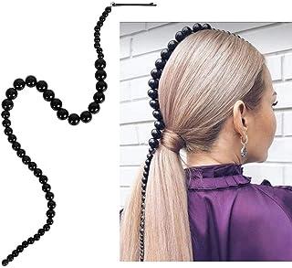 Aimimier Black Beaded Headband Hair Extensions Head Chain with Hair Clip Bridal Headpiece Prom Party Festival Hair Accesso...