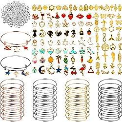 Otterrai: il pacchetto ti offre 32 pezzi di braccialetti espandibili in argento, oro, oro rosa e nero canna di fucile, 8 pezzi per ogni colore, 110 pezzi pendenti con ciondoli assortiti, 200 pezzi anelli per saltare aperti, 342 pezzi in totale, tutti...