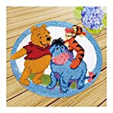 Latch Hook Kits For Adults Beginners Pillow Cushion Latch Hook Embroidery Kit DIY Needlework Crocheting Cushion Embroidery Winnie The Pooh Diameter50cm