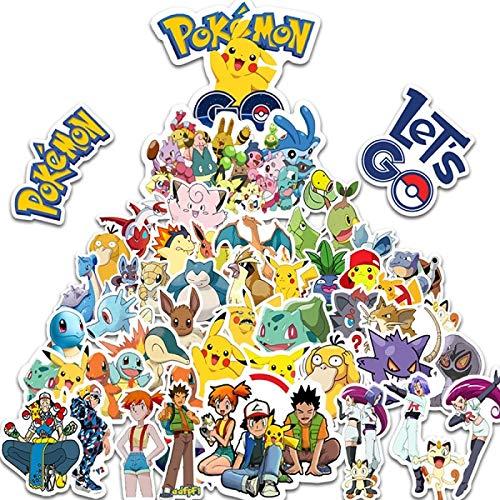 Pegatinas de anime 15 piezas dibujos animados Anime Pokemon pegatinas Kawaii Pikachu Stikers monopatín bicicleta guitarra portátil niños juguetes impermeables stikers