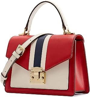 Leather Handbag for Women Fashion Color Block Design Top Handle Bag Crossbody Purse