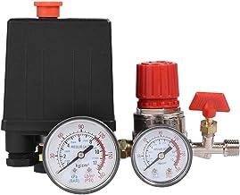 Valve Regulator, Delaman Small Air Compressor Pressure Switch Control Valve Regulator with Pressure Regulator Gauges Safety Valve Fittings Set