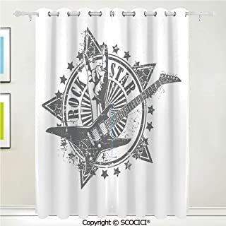 SCOCICI Unique Blackout Curtains Soft Stars with Rock Sign Monochrome Musical Instrument Design Rockstar Life Singing Thermal Insulated Living Room Bedroom Curtain Energy Efficient