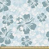ABAKUHAUS Hawai Tela por Metro, Siluetas De Flor Marchita, Decorativa para Tapicería y Textiles del Hogar, 1M (148x100cm), Azul Pálido De La Turquesa