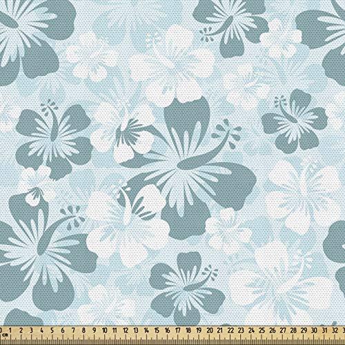 ABAKUHAUS Hawaii Gewebe als Meterware, Verblaßte Blumen-Schattenbilder, Schön Gewebten Stoff für Polster und Wohnaccessoires, 1M (148x100cm), Türkis Hellblau