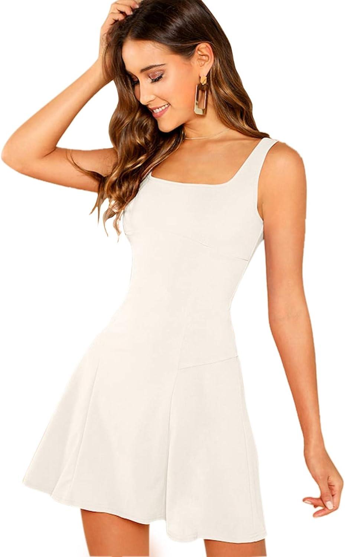 Romwe Women's Sleeveless Zipper A Line Party Bodycon Dress White S