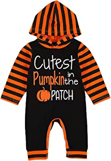 Newborn Baby Girl Boy Halloween Outfit Striped Long Sleeve Pumpkin Letter Print Hoodie Jumpsuit Romper One-Piece Clothes