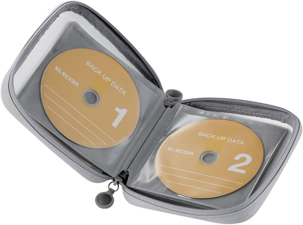 エレコム DVD CDケース セミハード ファスナー付 24枚収納 ホワイト CCD-H24WH