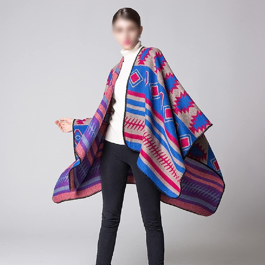 LSDJGDDE Women Jacquard Split Autumn Winter Warm Travel Shawl Stripe All-Match Split Thick Plaid Scarf Ponchos Capes (Color : Purple, Size : 150130cm)