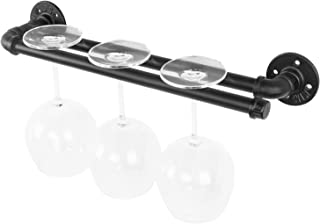 MyGift Industrial Iron Pipe Wall Mounted Wine Glass Storage Rack