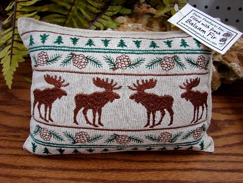 Paine's Moose Parade balsam fir filled pillow by pine cone christmas tree pinecones