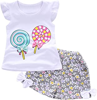 WOCACHI Toddler Baby Girls Lolly Sets, 2PCS Kids Outfits Lollipop Fluttering Sleeve T-Shirt Shorts Clothes Set