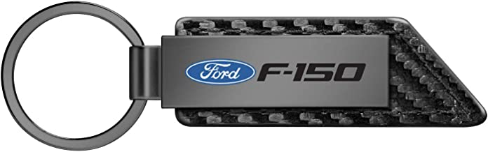 iPick Image for - Ford F-150 Gunmetal Gray Metal Plate Carbon Fiber Texture Black Leather Key Chain