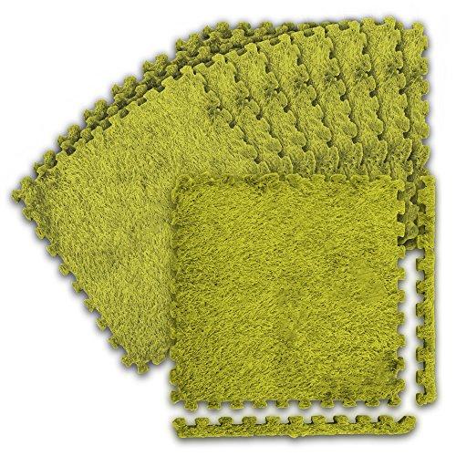 WEIMALL【9枚セット/グリーン色】ジョイントラグマット30cm洗えるカーペット床暖房対応