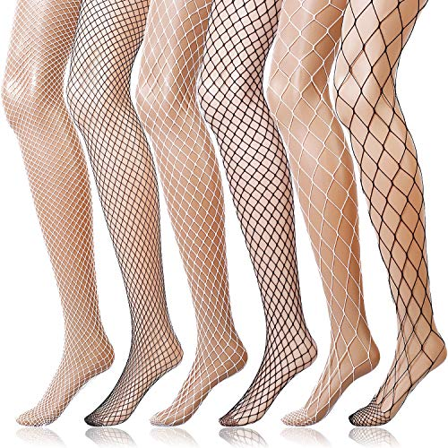 Boao 6 Paare Netz Strümpfe Damen Hohe Taille Netz Strumpfhose für Mädchen Damen (3 Schwarz, 3 Weiß, M/L/XL Loch)