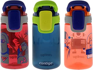 Contigo Autospout Gizmo 康迪克 兒童自動密封水奶瓶 14盎司 3件裝 鮮紅色/海藍色/油桃色