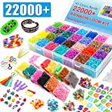 22,000+ Rainbow Rubber Bands Refill Kit, Over 20,000 Loom Bands in 41 Colors, 1000 S-Clips, 6 Y Looms, 280 Beads, 52 ABC Beads, 50 Charms, Backpack Hooks, Crochet Hooks and ABC Stickers by INSCRAFT