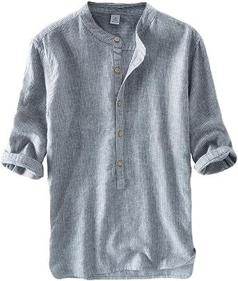 Hombres Camisa De Lino Sin Cuello Casual Raya Camisetas De Manga 3/4