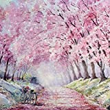 Kit de pintura de diamante 5D, diseño de árbol rosa, para bicicleta de carretera, paisaje de 30 x 30 cm, lienzo de diamante con diamantes de punto de cruz (paisaje)