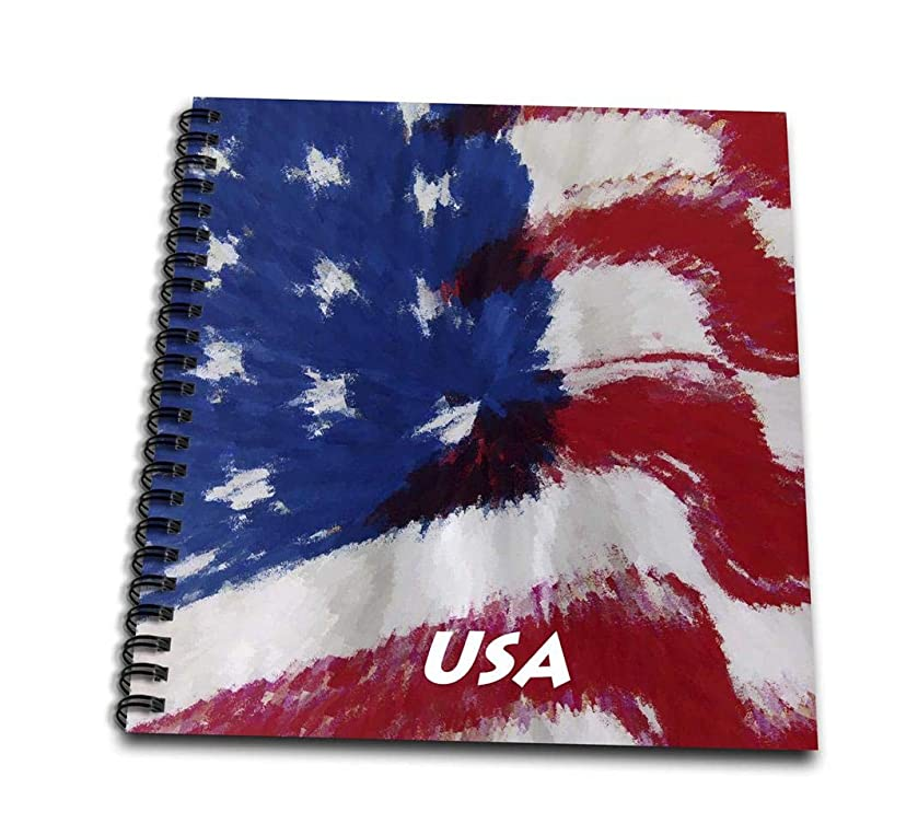 3dRose db_33387_1 Wavy USA Abstract Flag-Drawing Book, 8 by 8-Inch