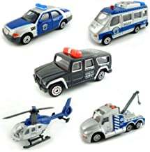 BOHS Pack of 5pcs- Police SWAT Vehicles- Mini Metal Miniature Diecasts -Car,Tow Truck,Armored Vehicle,Prison Van,Command C...