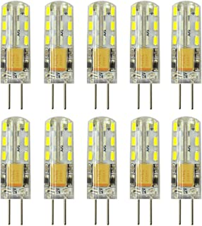 Rayhoo 10pcs G4 LED Bulb Bi-Pin Base Light Lamps 1.5 Watt AC DC 12V/10-20V Equivalent to 10W T3 Halogen Track Bulb Replacement 360° Beam Angle(White 5800-6200K)