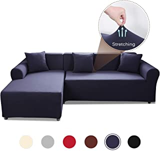 Popuppe Sectional Couch Covers L Shape Sofa Slipcover,Anti Slip Stain Resistant Slipcovers,Washable Furniture Pet Protector Covers 3 Seat and 3 Seat Dark Blue