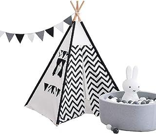 Vobajf Barn lektält barn tipi-tält indisk duk tält för barn småbarn inomhus utomhusspel lektält (färg: Vit/baksida, storle...