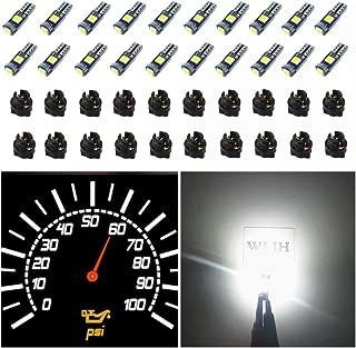 WLJH 74 Led Bulb Dash Lights Super Bright T5 2721 37 70 286 Wedge PC74 Twist Socket Automotive Instrument Panel Gauge Light Kits Cluster Shift Indicator Bulbs White Pack of 20