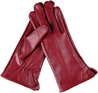 Womens Leather Gloves Ladies Touch Screen Mittens Soft Warm Velvety Lining Winter Gloves with Beauty Line Decoration