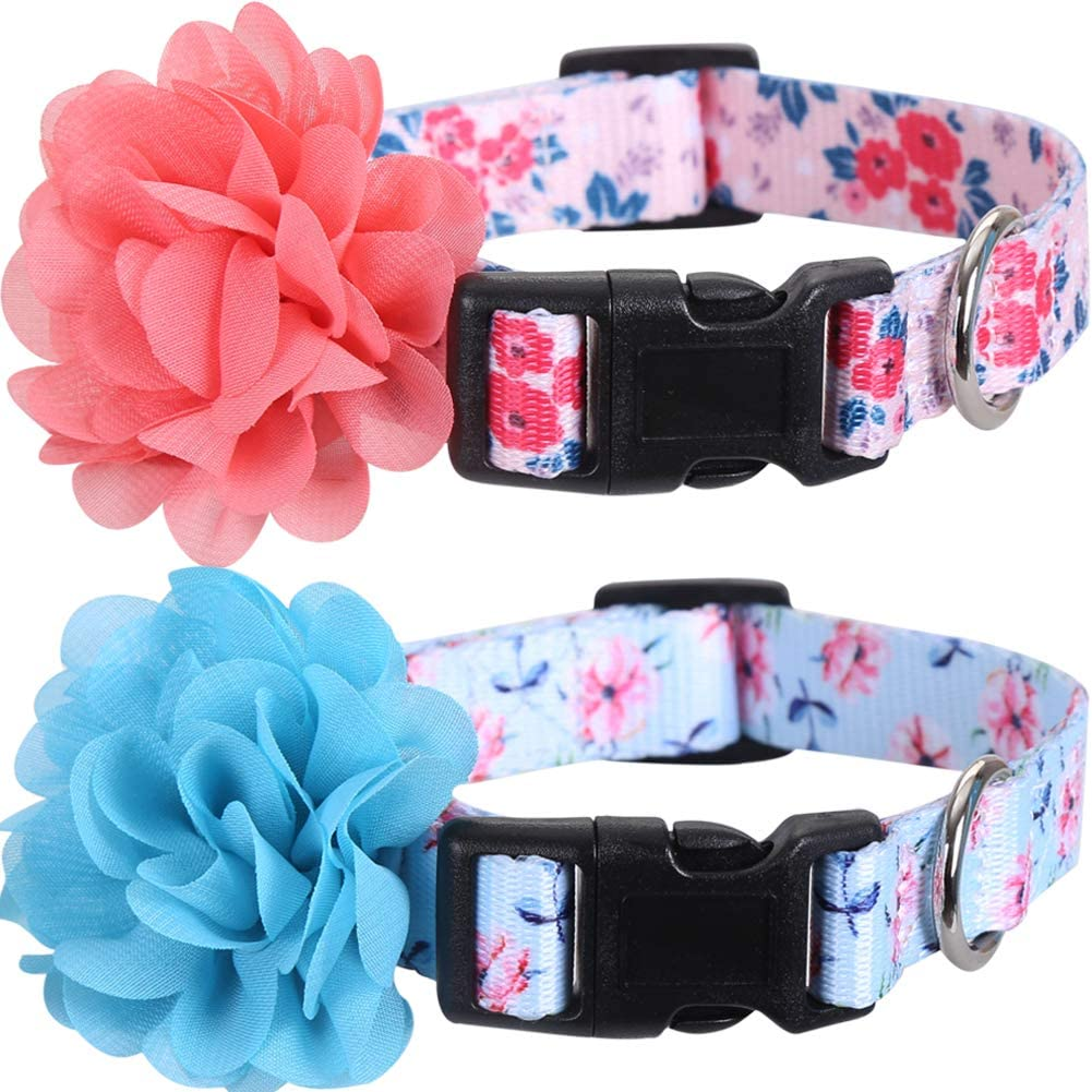 2 Sale price Pack Dog Collar Floral Nylon excellence Flower Removable with Adjustable