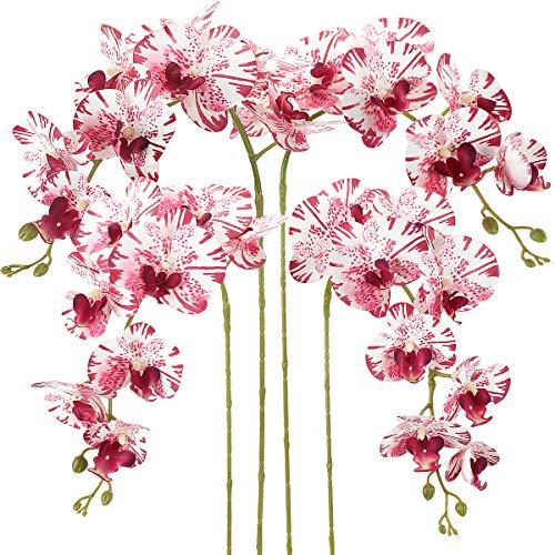 RERXN Packung mit 4 Stück Künstliche Phalaenopsis Orchideen Blüten 9 Köpfe Schmetterlingsorchidee Blüten für die Inneneinrichtung (White Red)
