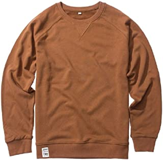 Howely Mens Casual Round Neck Solid Long Sleeve Pullover Sweatshirt