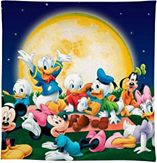 BANDAO Mickey and Minnie Mouse Tablecloths Cotton Linen Wrinkle Free Anti-Fading Table Cover Decoration for Square or Round Table,Indoor Outdoor Table Cloth for Summer/Party/Picnic Free-146146cm