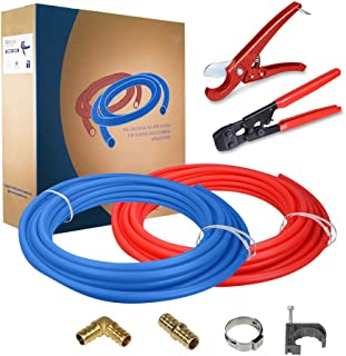 Pexflow PXKT10012 Starter Kit for 1/2-In Pex with Crimper & Cutter Tools - Set includes Brass Elbow & Coupling Fittings, C...