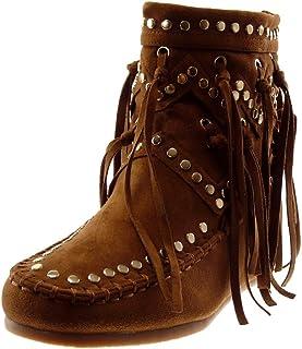 9d81ed096b7e1 Angkorly - Chaussure Mode Bottine Bottes Indiennes Folk Souple Femme Frange  clouté Finition surpiqûres Coutures Talon