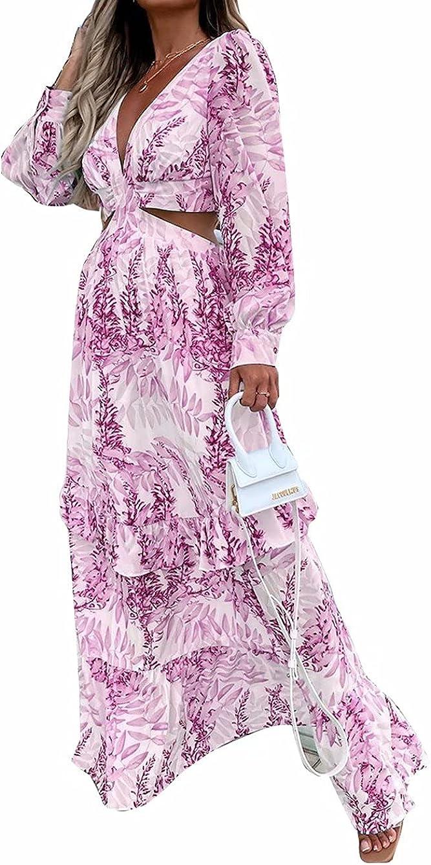 Mintsnow Women's Summer Dress Sexy Floral Print Cut Out Deep V Neck Long Lantern Sleeve Boho Maxi Dresses Beach Party