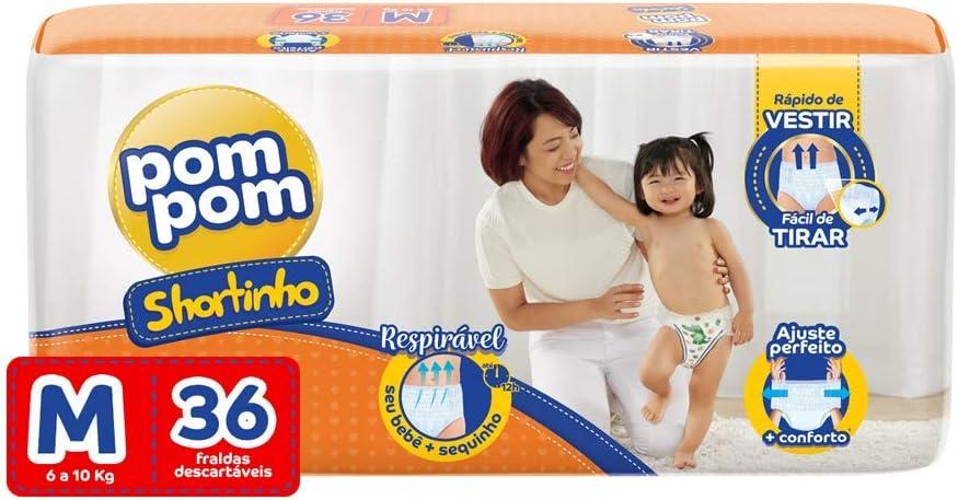 Fralda Calça PomPom Shortinho, M, Jumbo, pacote de 36, Laranja