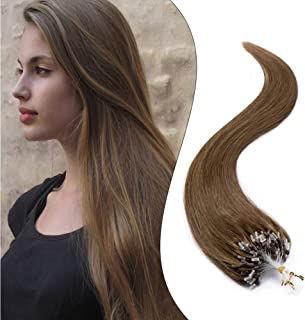 Micro Loop Ring Hair Extensions Nano Rings Human Hair Light Brown #6 Silky Straight 100 Strands 50g Micro Link Hairpieces 20 Inch