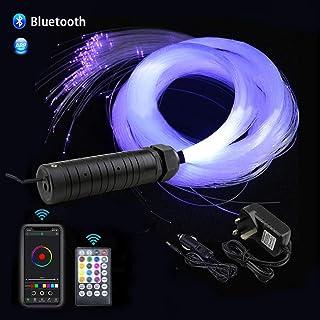 AZIMOM 6W Bluetooth/APP Control RGBW Fiber Optic Lights Star Ceiling Kit Sensor Music Mode Sensor Light Source with Remote 550pcs 0.03in 13.1ft Fiber Strands for Car & Home Interior Decoration