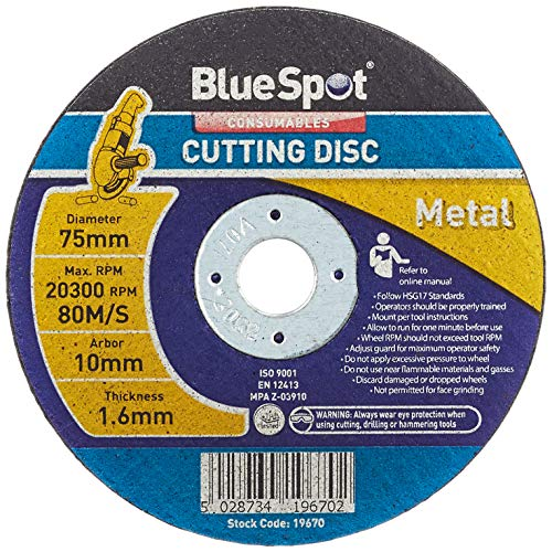 """Blue Spot Tools 19670 Disco de Corte de Metal, Negro, 75 mm, 3""""-inch"""