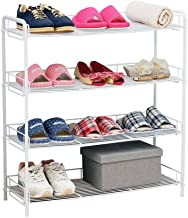 Household Metal 4 Tier Shoe Rack Hallway Entrance Storage Tower Cabinet Organiser Shelves White for 12 Pairs of Shoes